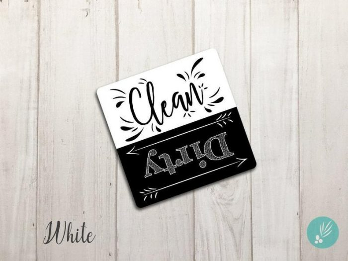 Clean and dirty dishwasher sign in black and white