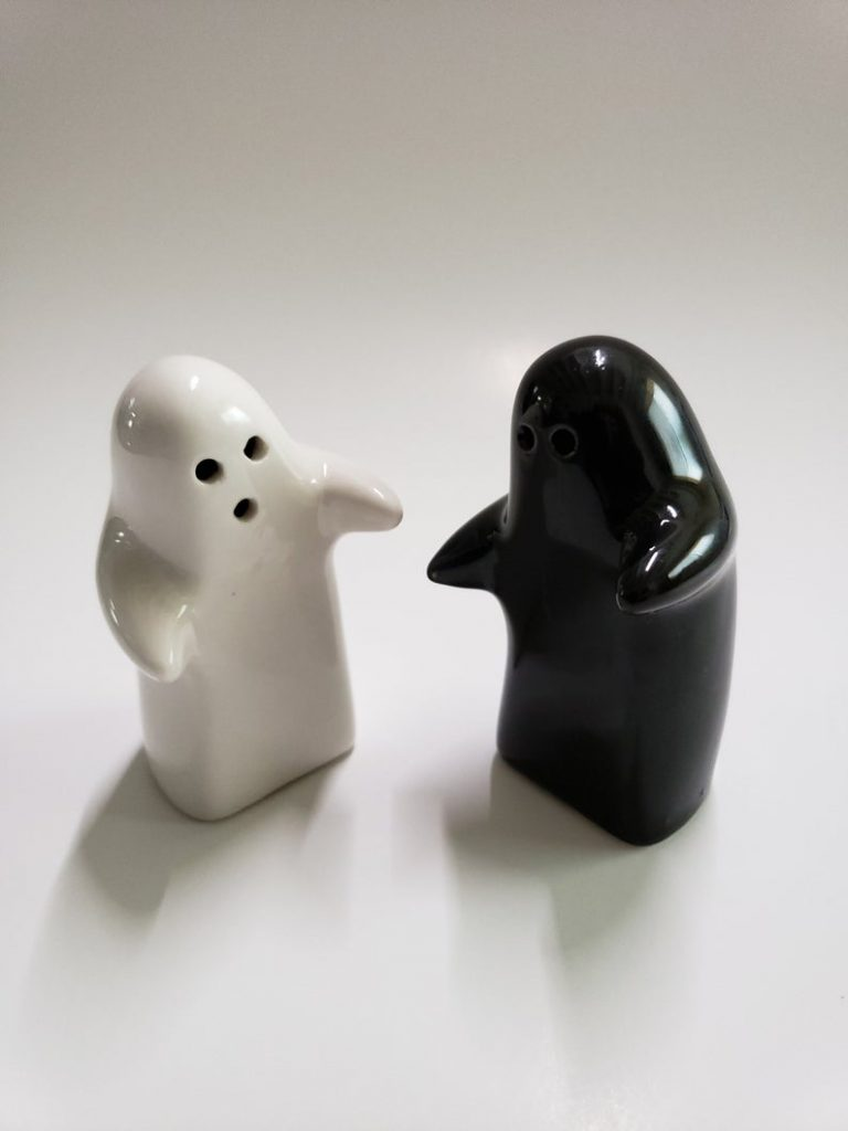Black and white hugging salt and pepper shakers