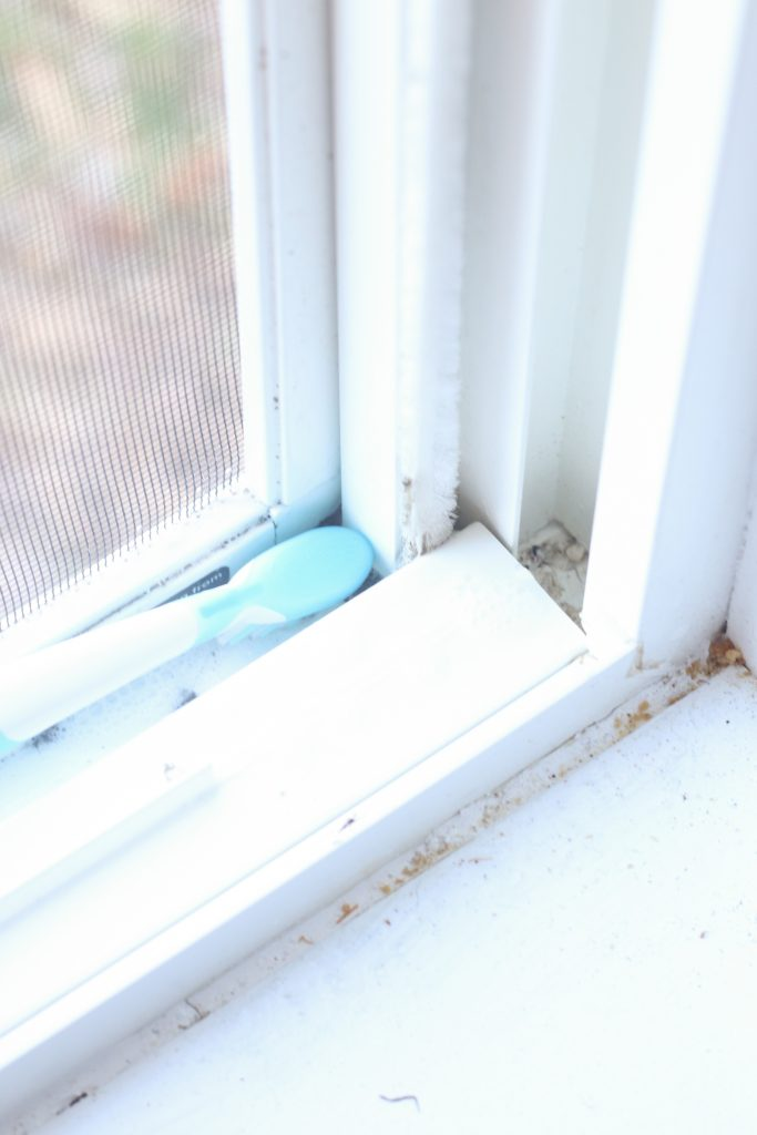 toothbrush for cleaning window sills