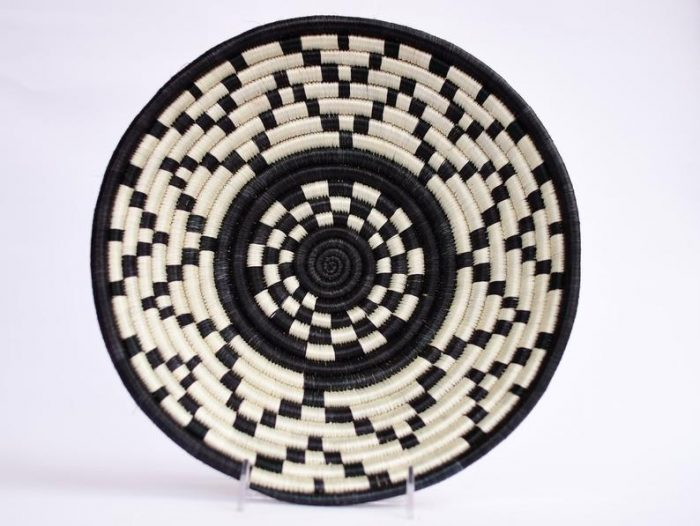 black and white wall basket for the kitchen