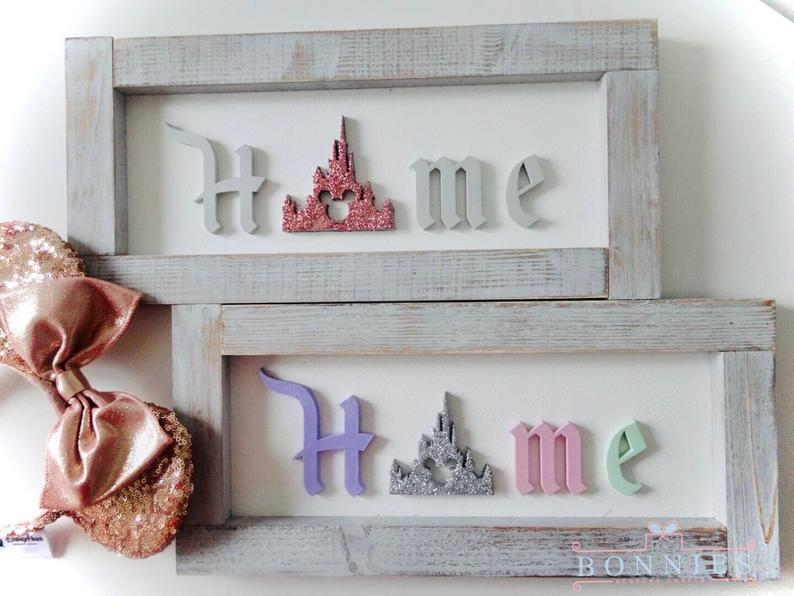 Custom hand made wooden Disney princess castle sign